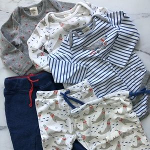Mini Boden blue onesie and pant set